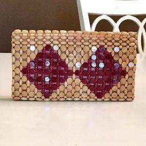 Handbags - Retro Wood Beaded Clutch